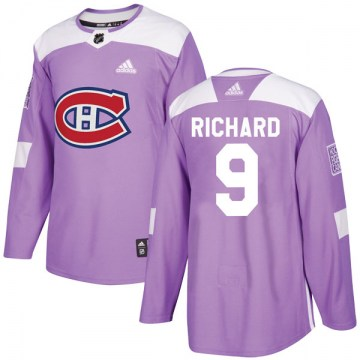 Adidas Montreal Canadiens Youth Maurice Richard Authentic Purple Fights Cancer Practice NHL Jersey