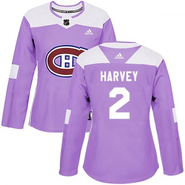 Adidas Montreal Canadiens Women's Doug Harvey Authentic Purple Fights Cancer Practice NHL Jersey