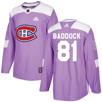 Adidas Montreal Canadiens Men's Brandon Baddock Authentic Purple Fights Cancer Practice NHL Jersey