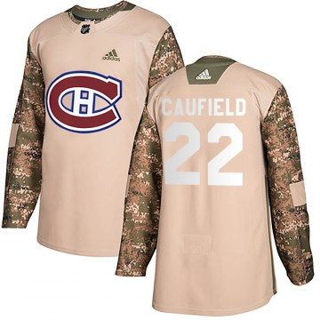 Adidas Montreal Canadiens Men's Cole Caufield Authentic Camo Veterans Day Practice NHL Jersey