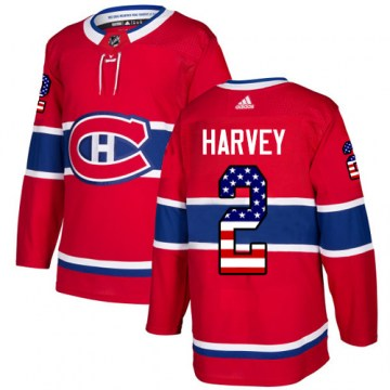Adidas Montreal Canadiens Youth Doug Harvey Authentic Red USA Flag Fashion NHL Jersey